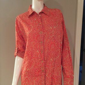 Michael Kors Red Paisley Button Down Size M